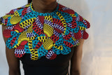 Choker cape collar African fabric statement necklace - Red, yellow, blue and black