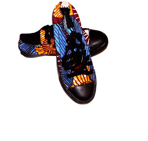 Low top african print trainers sneakers