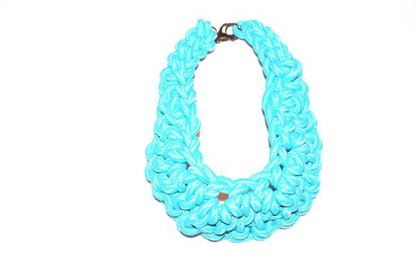 Blue chunky twisted rope statement choker necklace