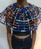 African Cape necklace top with button closure - Blue print
