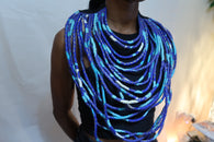 Layered african fabric statement necklace - Ankara necklace - Blue and white