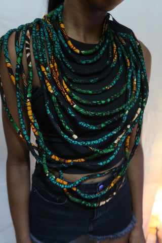 African layered necklace - Green