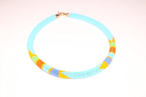 Sky blue maasai choker necklace