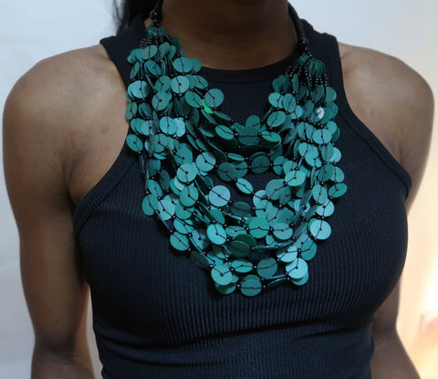 Green flat bead layered statement necklace