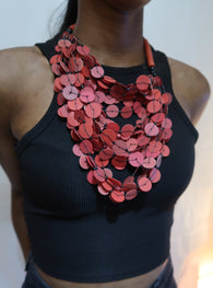 Red flat bead layered statement necklace
