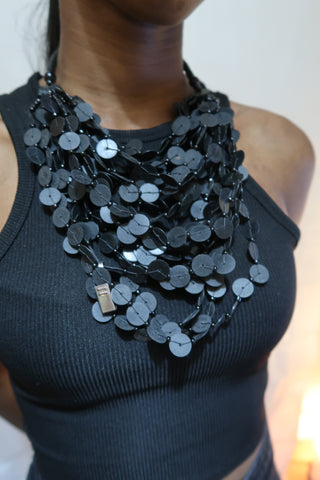 Black flat bead layered statement necklace