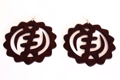 Wooden gyame adinkra earrings