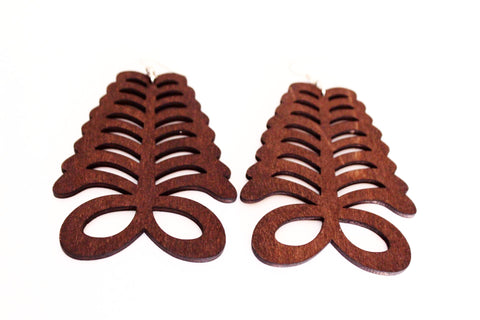 Wooden adinkra earrings