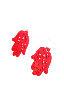 Wooden hands of Hamsa earrings