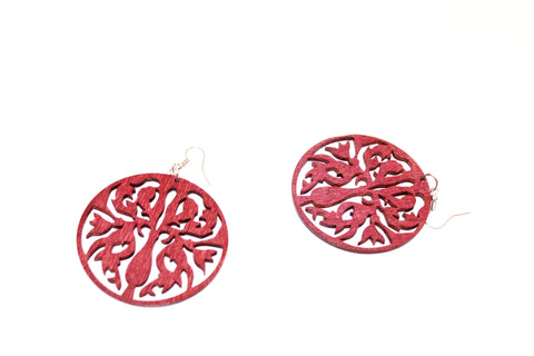 Floral shaped wooden earrings