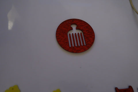 Red afro comb round circle earrings