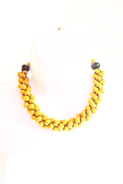 Yellow wooden necklace