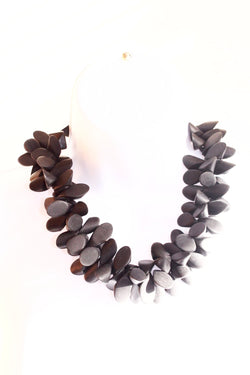 Handmade dark grey statement necklace