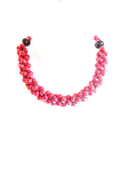 Ruby red wooden choker necklace