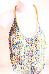 Multi coloured bead layered bib statement necklace