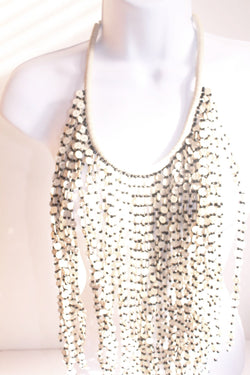 White and black bead layered bib bead statement necklace