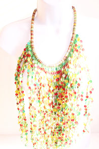 Green and multi coloured bead layered bib bead statement necklace