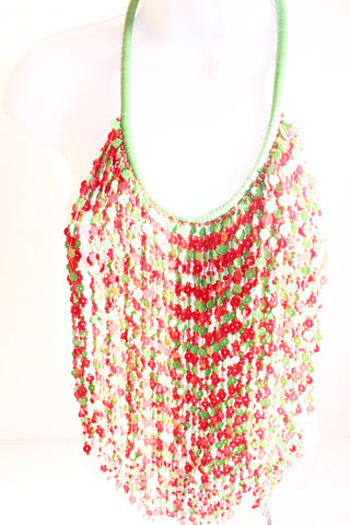 Red and green flat bead layered bib statement necklace