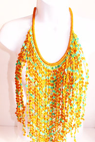 Yellow and green coloured bead layered bib bead statement necklace
