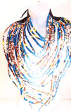 Multi Layered Kente African Print Necklace - Blue