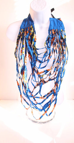 Multi Layered Kente African Print Necklace - Multi coloured