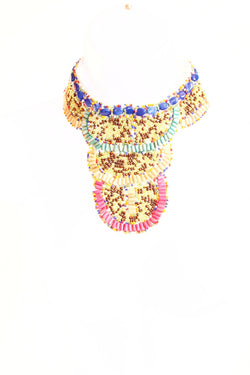 Bead bib statement necklace - white collar