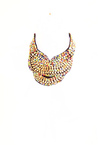 Bead bib statement necklace