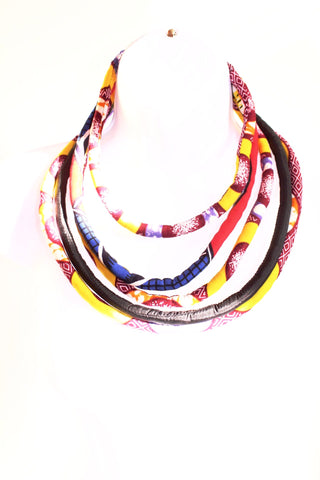 African print layered necklace