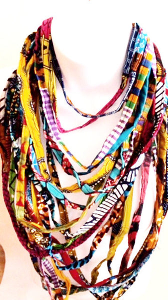 Multi Layered Kente African Print Necklace