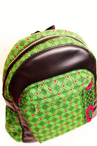 Handmade Leather and African print backpack