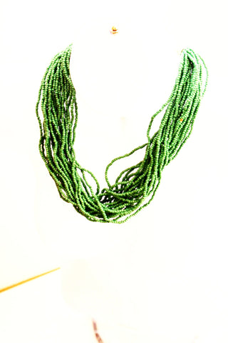 Green bead statement necklace