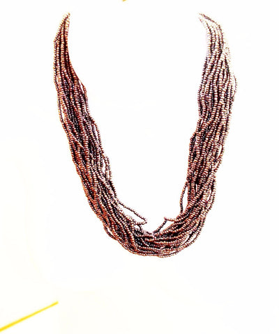 Silver bead statement necklace