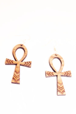 Wooden ankh earrings