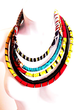 Multi strand african fabric layered necklace