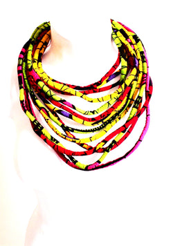 African fabric kente Ankara - African Necklace - African Jewellery - Multi ten layered Mid Necklace