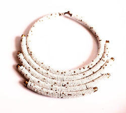 White kenya statement necklace