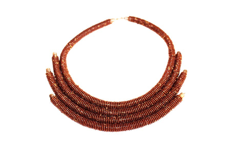 Brown kenya statement necklace