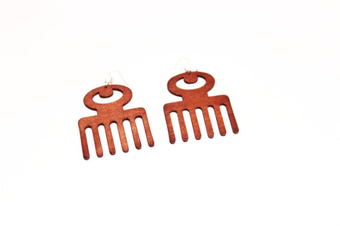 Afro comb wooden- earrings