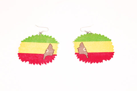 Colourful afro head shaped wooden earrings