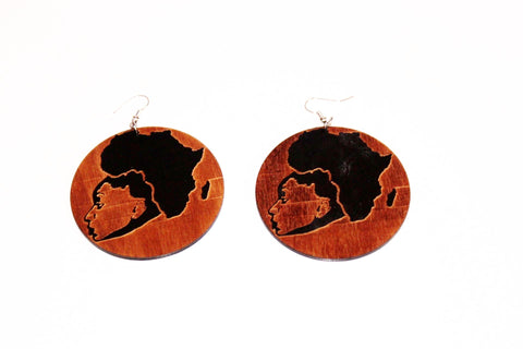 wooden afro head shaped earrings