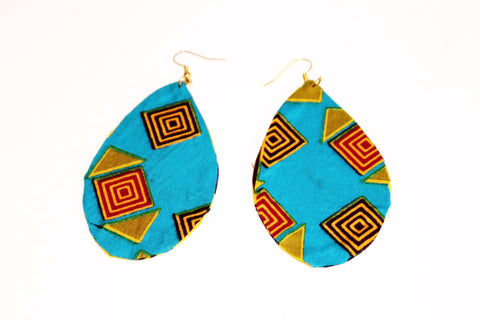 Blue african fabric earrings