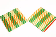 Green and yellow kente fabric earrings