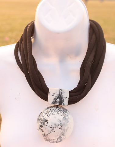 Black and white choker statement necklace