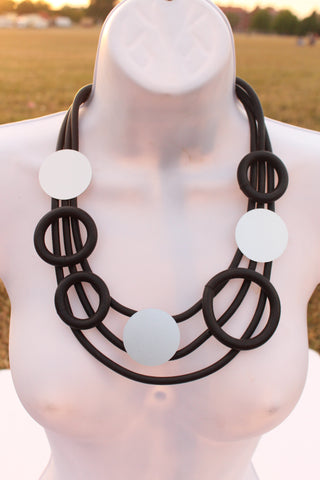 Black and silver geometric statement necklace