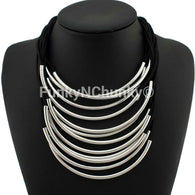 Multi layered rope necklace - Silver