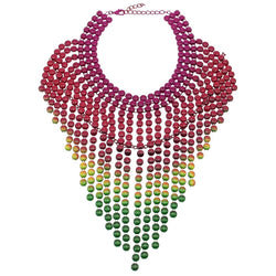Multicoloured layered colourful statement dropchain bib necklace