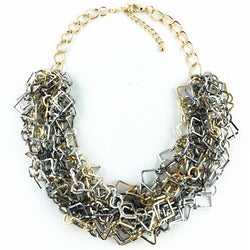Metal statement necklace - gold and silver