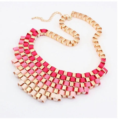 Red and gold metal statement necklace