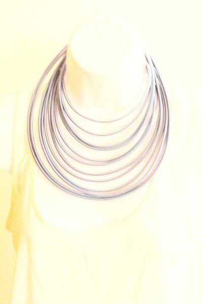 Silver blue  layered rope necklace