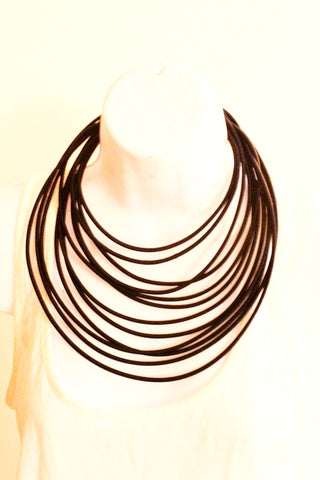 Large black layered rope necklace
